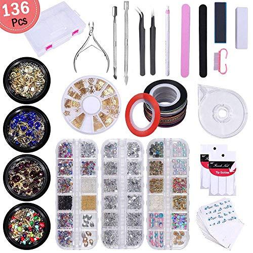Liarty 3D-Nageldekorationsset: Strasssteine/Acrylperlen/Nagelperlen/Edelsteine/Nietendekoration, Nagelsticker, Streifenband, Tasche, Punktstift, Pinzette, Maniküre-Werkzeug-Set