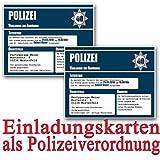 Einladungskarten zum Geburtstag als Polizei-vorladung (25 Stück) Geburtstagseinladung Polizei Vorladung Einladung