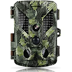 Cámara de caza, cámara de vigilancia impermeable Abask Búsqueda de observación invisible a prueba de agua IR infrarrojo Vídeo de la noche Digital 16MP 1080P HD 25m Gran angular 120 ° Visión nocturna
