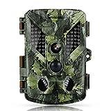 HAPIMP Cámara de la vida silvestre, cámara de caza de vigilancia de remolque, sensor de infrarrojos de 3 zonas, 16 MP 1080P HD con lapso de tiempo, 125 ° de ángulo amplio, visión nocturna para la vida silvestre con tarjeta SD de 32 G