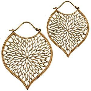 Brass Ohrringe Tribal Tropfen Blatt Blumenmuster antik golden Messing