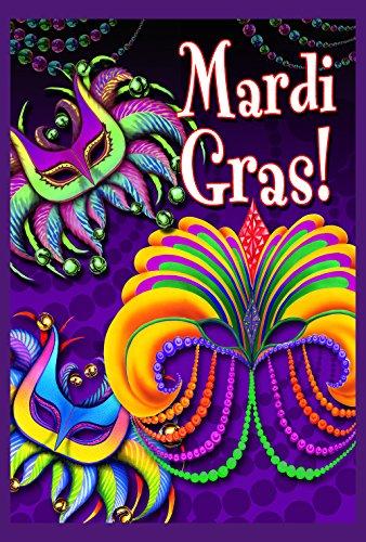 appy Mardi Gras Dekorative Maske Perlen doppelseitig Hausflagge 71 x 102 cm ()