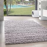 Unbekannt Shaggy Hochflor Langflor Teppich Wohnzimmer Carpet Uni Farben, Rechteck, Rund, Farbe:Hellgrau, Größe:140x200 cm