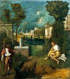 """Stampa artistica / Poster: Giorgione """"La Tempesta"""" - stampa di alta qualità, immagini, poster artistici, 40x45 cm"""