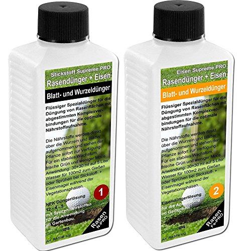 Rasen-Dünger Volldünger NPK+ mit Eisen flüssig für perfekten Rasen, ca. 400m2 Traumrasen!