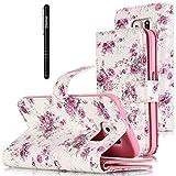 Slynmax Leder Tasche Schutzhülle für Samsung Galaxy S6 Hülle Flip Wallet Case Etui Blumen Rosen Premium PU LeatherLederhülleHandyhülle Schutz-Hülle Handytasche Klapphülle Ständer Karten Slot