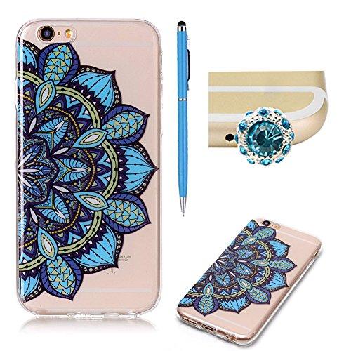 Transparente Coque pour iPhone 6 / 6S,SKYXD Liquid Crystal Clear Ultra Mince Premium TPU Silicone Transparent / Exact Fit / NO Bulkiness Souple Coque Pour Apple iPhone 6 / iPhone 6S,Demi-fleurs bleues Demi-fleurs bleues