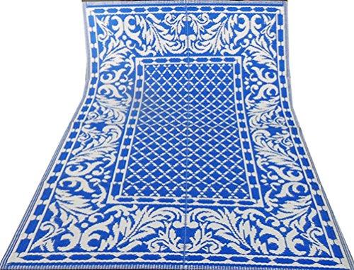 tappeto fatto a mano indiano blu motivo floreale bianco tappeto