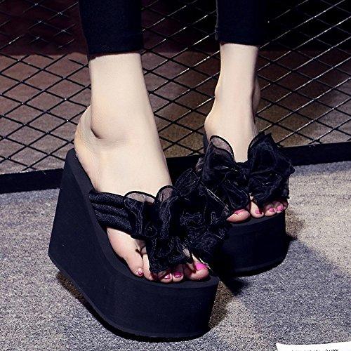 Cailin Sandals, 12cm Femelle antidérapante Chaussures de plage de sable épais Doux bow chaussures décontractées sandales 9 sortes de couleurs ( Couleur : #2 , taille : EU38/UK5.5/CN38 ) #3