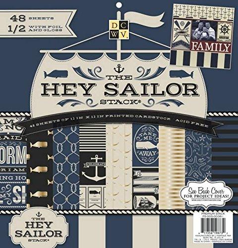Sterben Schnitte mit View 12x 12Zoll Die Hey Sailor nautischen Papier Stack, 48Stück, Mehrfarbig - Hey Sailor