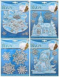 H&B 4 verschiedene Fensterbilder Weihnachtsbilder mit Oberflächenstruktur als Winterdeko - Fensterdeko - Weihnachtsdeko
