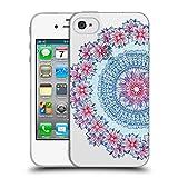 Head Case Designs Offizielle Micklyn Le Feuvre Blau Rot und Weiss Mandala 5 Soft Gel Hülle für Apple iPhone 4/iPhone 4S