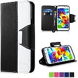 Galaxy S5 Hülle, Vakoo Bookstyle Handyhülle Premium PU-Leder Tasche Flip Case Brieftasche Etui Schutz Hülle für Samsung Galaxy S5 / S5 Neo (Schwarz Weiss)