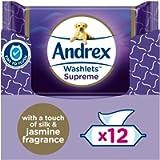 Andrex Washlets - Supreme Flushable Toilet Wipes - certified 'Fine to Flush', Plastic Free & Biodegradable Wet Wipes, 12…