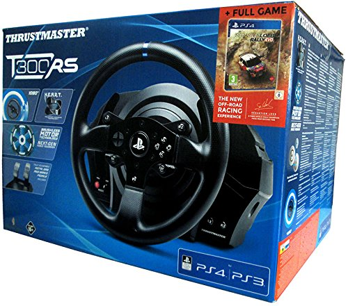 Thrustmaster T300RS + Juego Sebastian Loeb RALLY EVO - Volante - PS4/PS3/PC - Force Feedback - Licencia Oficial Playstation