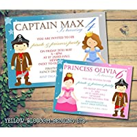 Personalised Childrens Birthday Invitations Printed Invites Boy Girl Joint Party Twins Unisex Pirate Captain Princess Fairy Boys Girls Pink Blue Kids Child Party Event 5 10 20 30 40 50 60 70 80 90 100