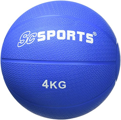 ScSPORTS Medizinball / Gewichtsball, 4 kg, Gummi, 22 cm Durchmesser, blau
