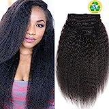 Topuhair Yaki Clips Tissage Cheveux Femme Noir 1B Cheveux Kinky Curly Clips 8Pcs/Set 120g Remy Cheveux Humain Brésil (18Pouce/45cm, 1B Natural Noir)