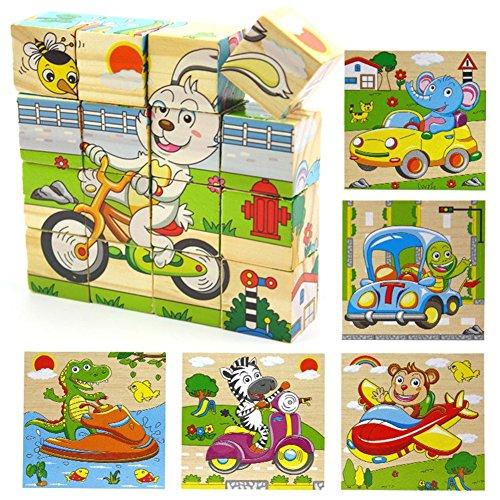 P ROW® Holz 3D Cube Block Jigsaw Baby Kleinkind Kinder Spielzeug Sicheres Holz Bausteine   Puzzles-16 Pcs (Tier Traffic Series)