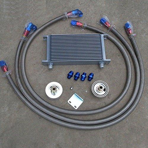 Gowe universel 19 rangée Aluminium 10 un Racing Kit de refroidisseur d'huile + adaptateur de tuyau de refroidisseur d'huile + Huile en acier inoxydable tressé Tuyau