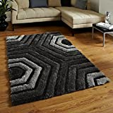 Global Home Brand New Hand Loom Modern Stone 5D Shaggy Rugs And Carpets For Living Room, Hall (2X3)