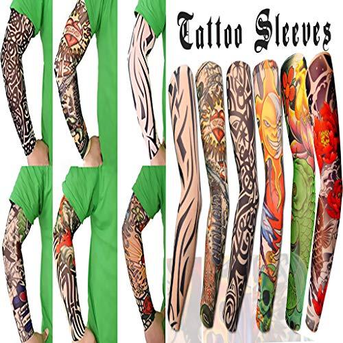 Temporäre Tattoo Aufkleber Tätowierung Ärmel Sonnenschutz Sport Arm Strümpfe Slip Zubehör Nylon Art Set 6-Teilig(Mehrfarbig) ()