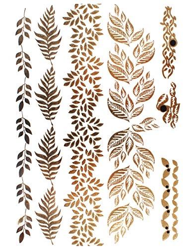 KLIMBIM Bling your Body mit Flash Metallic Tattoos Gold Schmuck Tattoo für Körper Finger Arme viele Designs (No.35) (Design Armee)