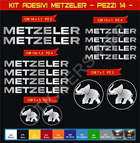 Kit adesivi stickers metzeler gomme pneumatici moto scooter -14 pezzi- -scegli colore- bike motorbike cod.0567 (argento cod. 090)