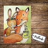 A6 Postkarte Print Fuchs & Hase Häschen mit Spruch Du bist wundervoll pk168 ilka parey wandtattoo-welt®