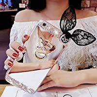Espejo de sycode Galaxy Grand Prime G530caso, Galaxy Grand Prime G530Glitter Caso, suave TPU goma Bumper Case Lovely Cute lujo Rhinestone Bling Diamante Glitter maquillaje espejo carcasa con anillo soporte y belleza negro conejo oído protector carcasa transparente funda para Samsung Galaxy Grand Prime g530-gold