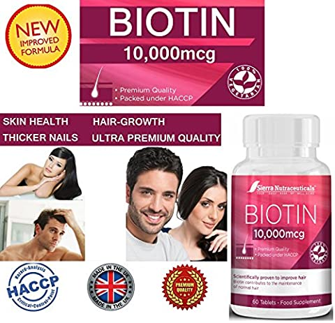 Biotin 10,000 MCG - For Hair Growth, Improve Skin Health & Have Thicker Nails For Women & Men★ Extra Strength Vitamin B7-Complex. ★Premium 60 Vegetarian Biotin Tablets for Improved Energy Production in Men & Women. ★ 100% MONEY BACK GUARANTEE.