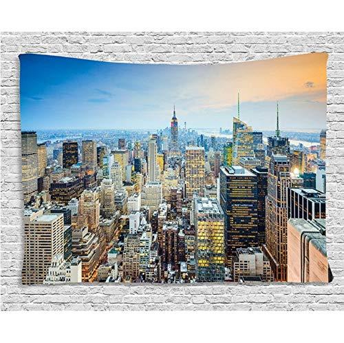 Hyddaxjw american tapestry new york city aerial with skyscrapers manhattan architettura urbana panorama wall hanging per camera da letto dorm, (w) 150x (h) 200cm
