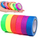 Fluorescent Cloth Tape, Coloured Adhesive Neon Gaffer/Spike/Fabric/Luminous Tapes Matte 6 Colors - Pink Yellow Green etc, UV
