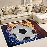 Naanle palla da calcio tappeto antiscivolo per per camera da letto, soggiorno, cucina 50x 80cm (1.7'x 2.6' ft), sport nursery tappeto pavimento tappetino yoga, Multi, 120 x 160 cm(4' x 5')