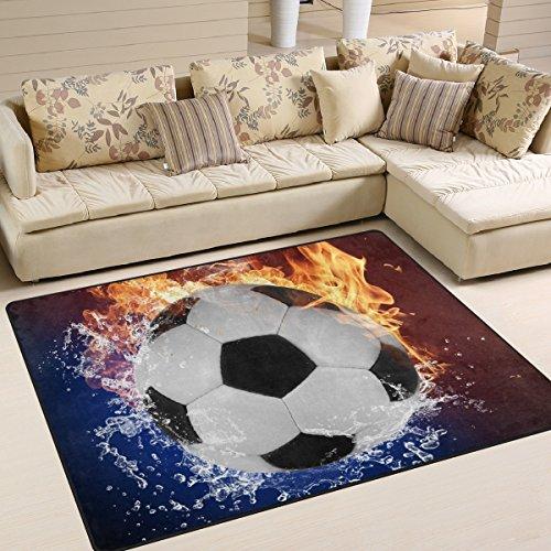 naanle Fußball rutschfeste Bereich Teppich für Living Eßzimmer Schlafzimmer Küche, 50x 80cm (1,7'X 2,6' ft), Sport Kinderzimmer Teppich Boden Teppich Yoga Matte, multi, 120 x 160 cm(4' x 5')