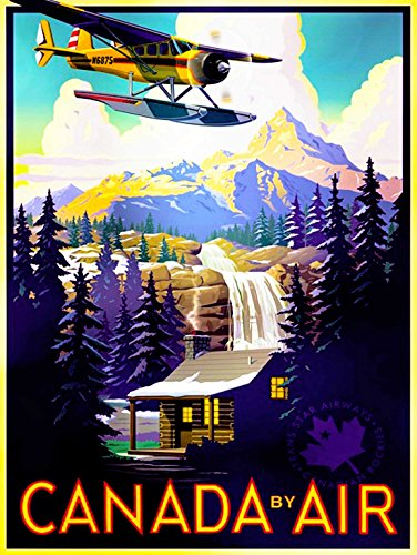 travel-tourism-transport-canada-air-plane-forest-mountain-30x40-cms-fine-art-print-affiche-imprimer-