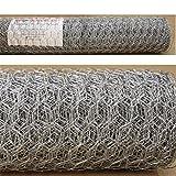 Estexo Sechseckgeflecht 1,2m x 25m Maschung 25mm Hasendraht Kaninchendraht Maschendraht verzinkt