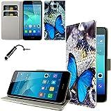Ownstyle4you - Huawei GT3 / Honor 5C Etui Wallet Coque Housse PREMIUM Portefeuille Eco Cuir Side BUTT BLUE / Protection Pare-Chocs Goutte Absorption des Chocs + Protecteur d'écran + Pen