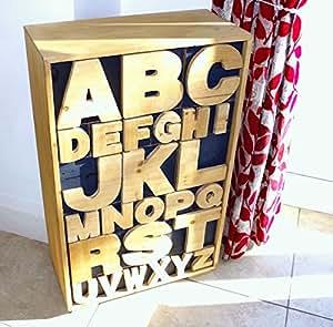 Style Shabby chic rétro Alphabet Meuble de rangement en bois avec tiroirs