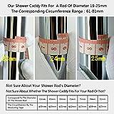 Edelstahl Duschablage zum Hängen badezimmer duschkorb mit Doppelt Halter für Duschkopf ohne Bohren zu montieren geeignet für alle Durchmesser von 19 bis 25mm Runde Duschstange PHASAT Test