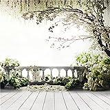 Fondale per studio fotografico 1,5x 2,1m in vinile, bianco e verde, in legno, con balcone, erba e fiori