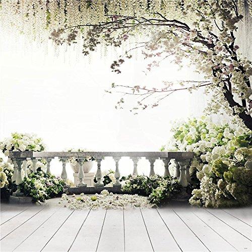 Spring weiß grün Gras Blumen Baum Fotografie Studio Hintergrund (Gras Fotografie-hintergrund)