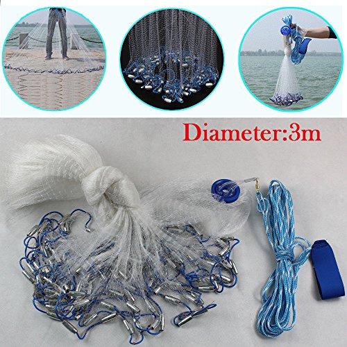 RANZIX Wurfnetz Fischernetz Fisch Gussnetz Abfischen Fischernetze Angeln Net Nylon Mesh Multifilament mit Sinker (10ft / 3m)