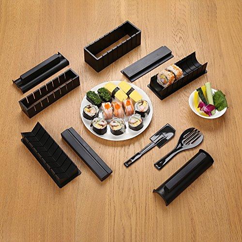 Sushi Maker Kit, 10 piezas completo juego de utensilios para hacer Sushi en casa DIY fácil Chef Set rollo de papel de arroz molde molde (Negro)