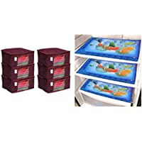 Kuber Industries Non Woven Saree Cover/Saree Bag/Storage Bag Set of 6 Pcs (Maroon) 9 Inches Height & Laminated 6 Pieces Reversible Fridge Drawer Mats (Multi) -CTKTC7061 Combo