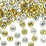 ABC-Perlen Gold & Silber für Kinder Zum Basteln und für Schmuck (400 Stück)