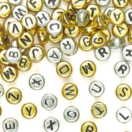Baker Ross ABC-Perlen Gold & Silber für Kinder zum Basteln und für Schmuck (400 Stück) (Alphabet Perlen Silber)
