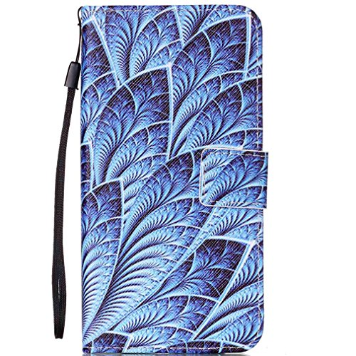 LMAZWUFULM Hülle für HTC Desire 650/628 / 626G 5.0 Zoll PU Leder Magnet Brieftasche Lederhülle Meerblaue Feder Muster Stent-Funktion Schutzhülle Flip Cover für HTC 650/628 / 626G