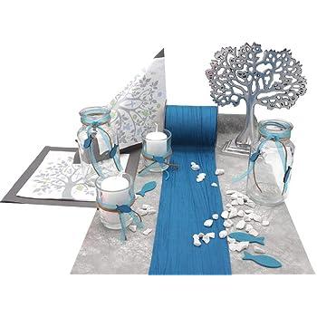 Zauberdeko Tischdeko Kommunion Konfirmation Blau Taupe Fische Set 20