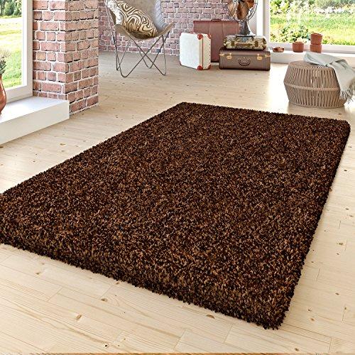 Shaggy–Alfombra de pelo largo Monótono Uni Salón suave color marrón, 120 x 170 cm